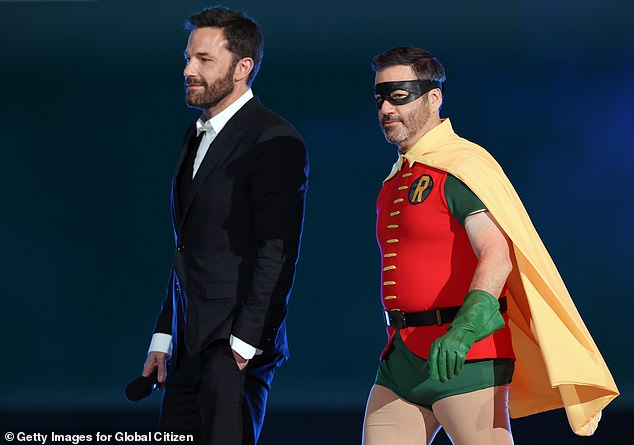Caught: Affleck was even 'caught' trying to sneak Damon onto the Jimmy Kimmel live set during an episode in 2016