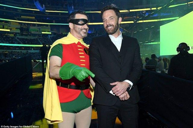 Jimmy Kimmel and Ben Affleck joke together backstage at the Vax Live concert