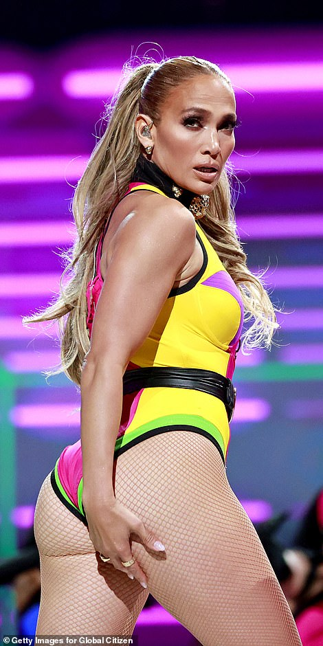 Cheeky: Lopez rocks a multi-colored look on stage at the Global Citizen VAX LIVE concert