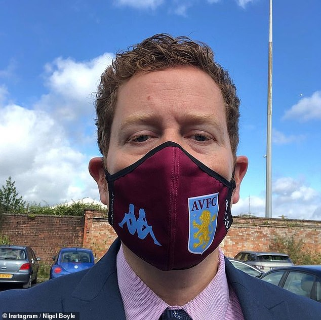 Interests: The performer pictured recently with an Aston Villa-themed face mask on the set of Line Of Duty