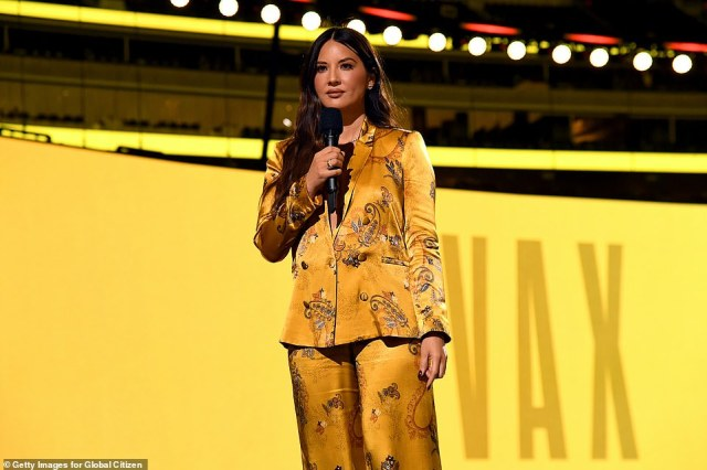 ActressOlivia Munn was among the high-profile line-up at the concert, where she appeared to give a brief speech
