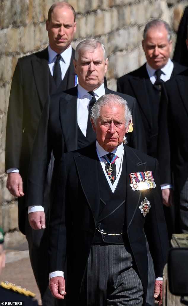 Russell Myers has told how Prince William and his father, the Prince of Wales, 'want to draw a line under Harry and Meghan' to focus on the future of the monarchy and focus on 'the business at hand' '.  Pictured at Prince Philip's funeral