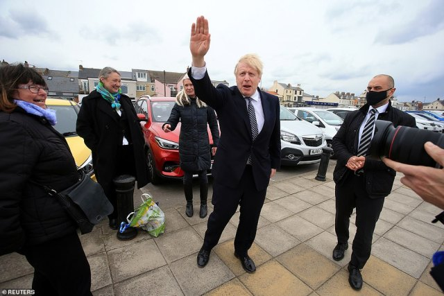 Boris Johnson chatted with voters and posed for selfies in Hartlepool with just days left before the 'Super Thursday' elections - when the town will elect a new MP