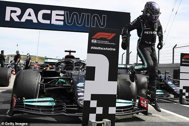 Hamilton celebrates after strolling towards his second race win of the 2021 season