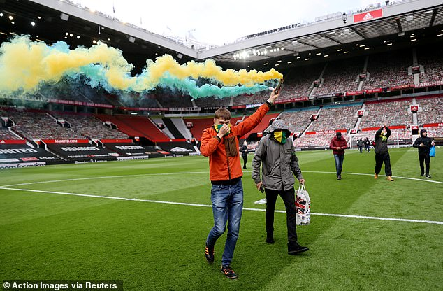 Flares were also let off inside Old Trafford, where a second break-in happened shortly after
