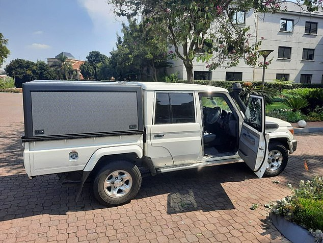 The other car full of gunmen fired at least 13 shots into the vehicle, but expert sniper and highly trained sniper Leo remained unfazed.  His vehicle is pictured above after the attack