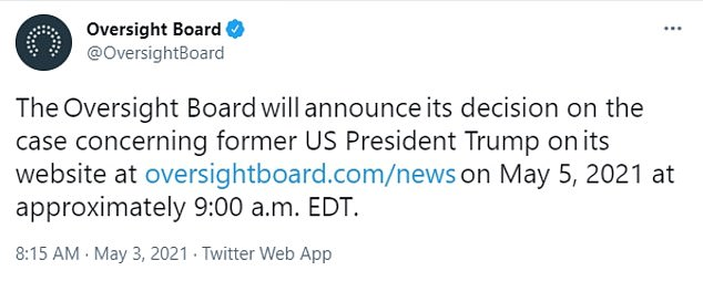 The oversight board was due to announce its decision in mid April but delayed it. On Monday, the board prolonged it further by saying it would announce it decision on Wednesday