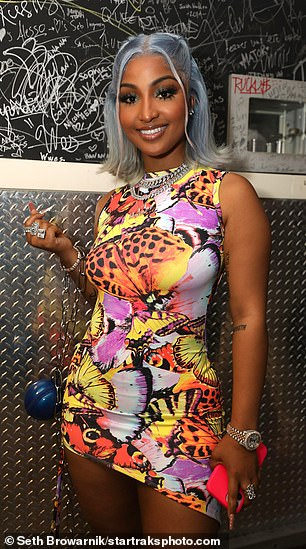Stunner: Shenseea donned a clinging patterned mini dress