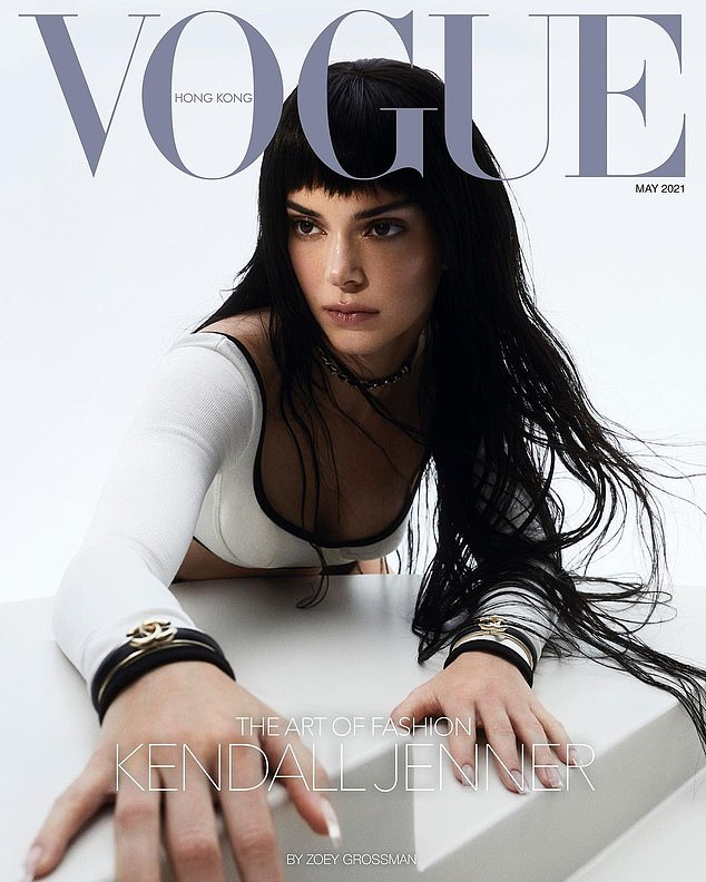 Work of art: Kendall Jenner looked ultra chic as she took the cover of Vogue Hong Kong for their Art Of Fashion issue