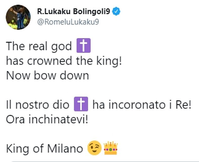The Belgian took an indirect shot at Ibrahimovic on Twitter after Inter secure the Italian title
