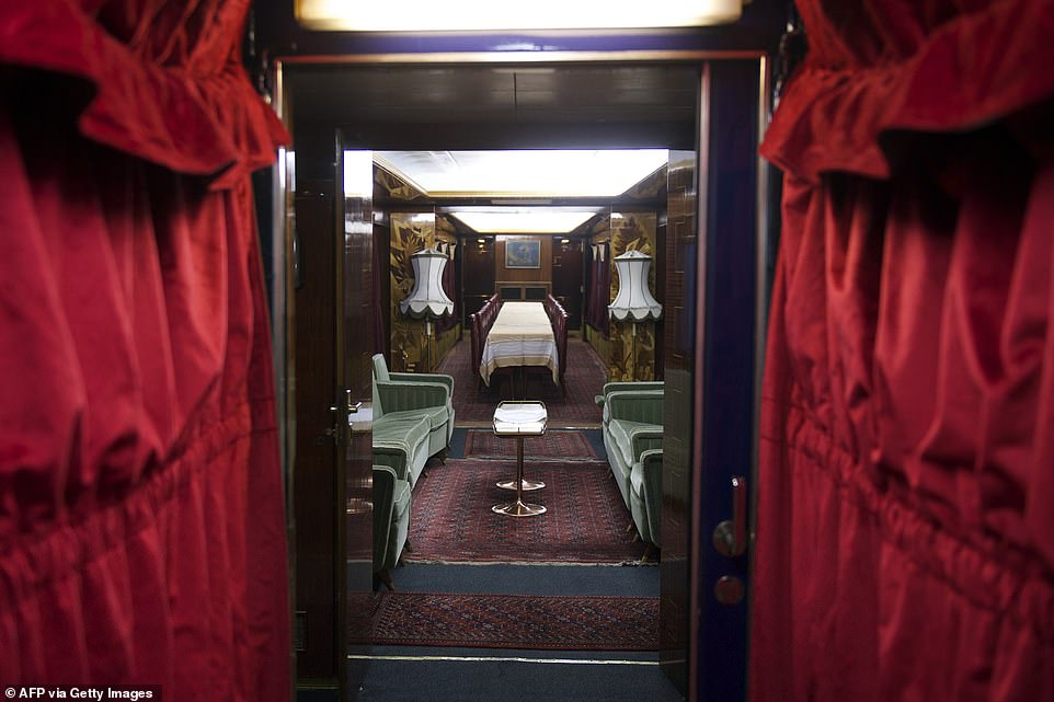 A series of images from inside the luxury locomotivereveal the the well-preserved carriages and the luxurious coaches that once played host to the former Yugoslavian ruler