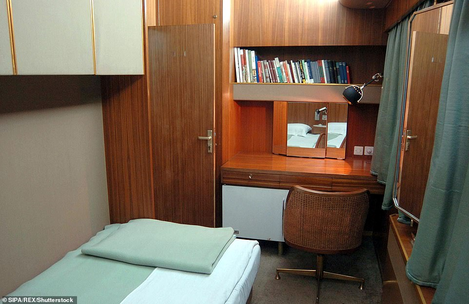 The luxury train, which consists of ten coaches in so-called 'Main train' and eight coaches in so-called 'First train', comes with a study room for guests