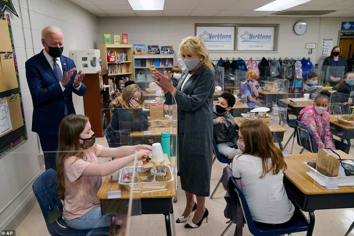 President Joe Biden and first lady Jill Biden examined the structures student built to show what they would do in case of a shipwreck