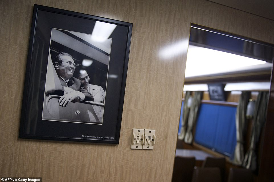 The train was also used to transport Tito's coffin across Yugoslavia to his final resting place in Belgrade, Serbia, after his death in May 1980. Pictured: A portrait of Josip Broz Tito and his wife Jovanka in the Blue Train