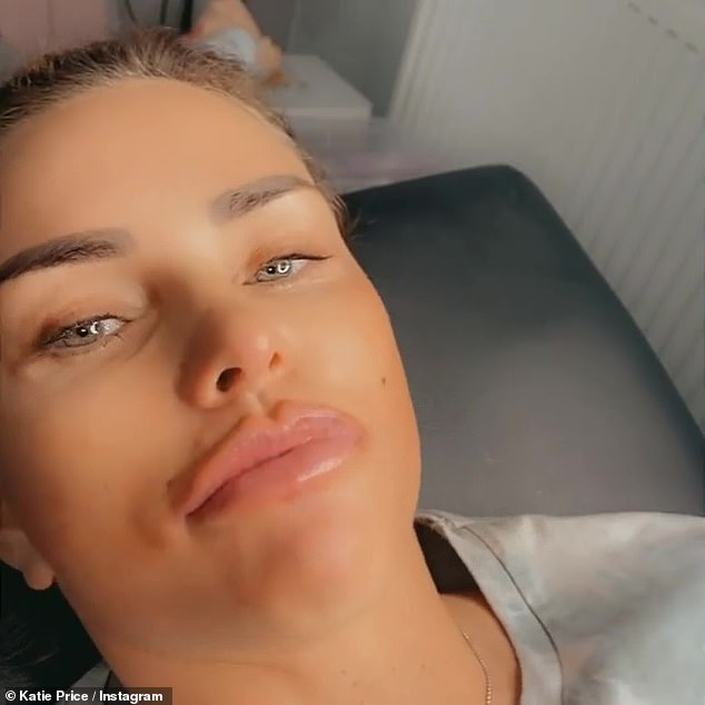 She added: 'They look a little bloated now but they're going to fall off, that's the best way to do it.  I can't believe how much Ellie has dissolved my lips, like back to natural '