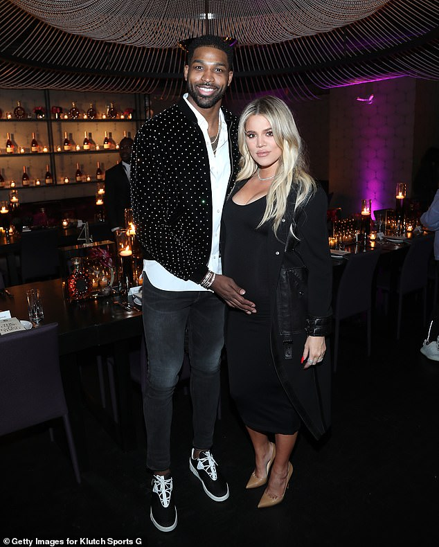Awkward:Khloe Kardashian 'reached out' to Tristan Thompson's fling Sydney Chase in leaked DMs amid latest cheating claims (the couple pictured in 2018 when she was pregnant)