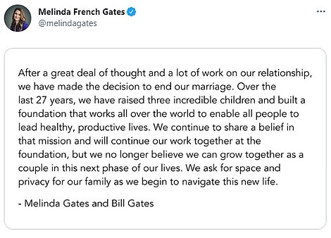 Statement: The couple shared the news of their split on social media, explaining that they 'no longer believe they can grow together as a couple in this next phase of their lives'