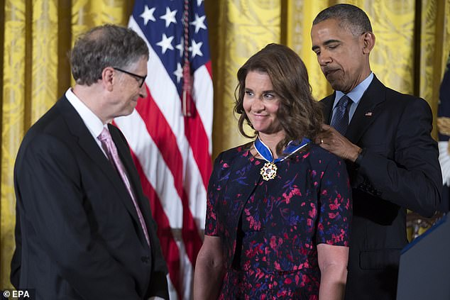 Melinda Gates is presented with the Presidential Medal of Freedom in November 2016
