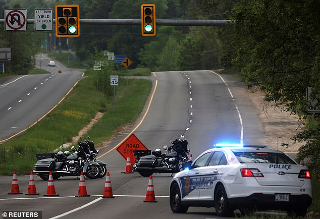Dolley Madison Boulevard is blocked off by law enforcement in response to a security-related situation outside of the secure perimeter near the main gate of CIA headquarters in Virginia
