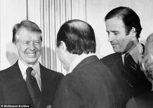 President Jimmy Carter (left) and Delaware's United States Senator, Joseph Biden (right) greet guest at the Hotel Dupont in Wilmington. Carter is pictured attending a reception in honor of Senator Biden in 1978