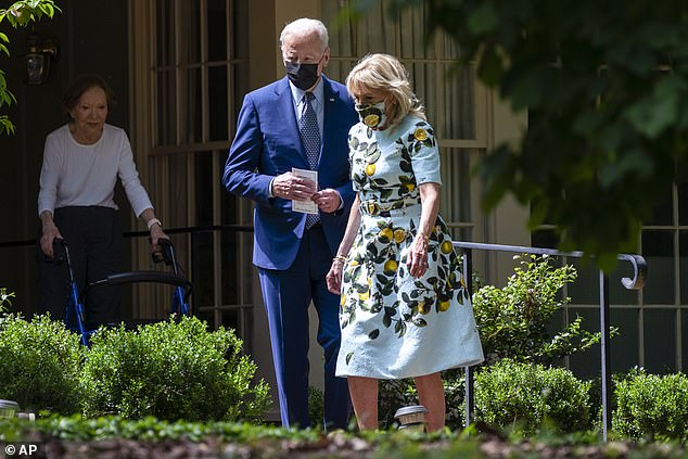 President Biden accompanied by his wife First Lady Jill Biden traveled to Plains to meet with the Carters at their home