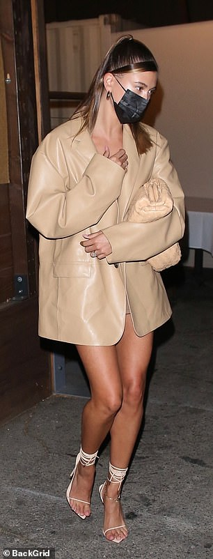 Leggy: Hailey was seen in the chic nude ensemble for the outing
