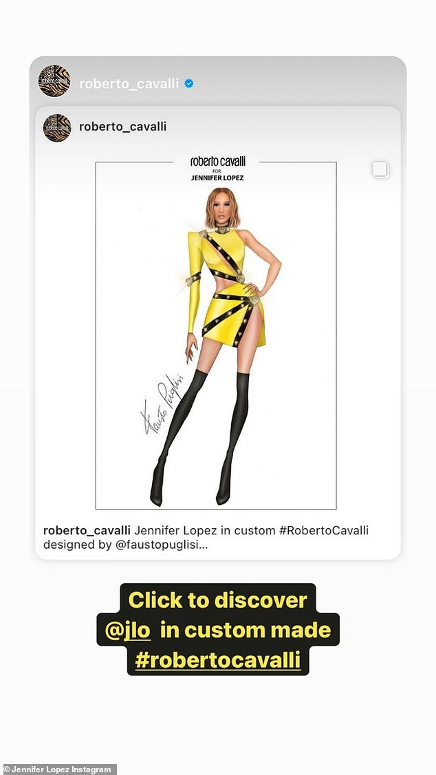 Sketch:The singer and dancer also shared a rough sketch of the dress by Cavalli himself, before he put it together