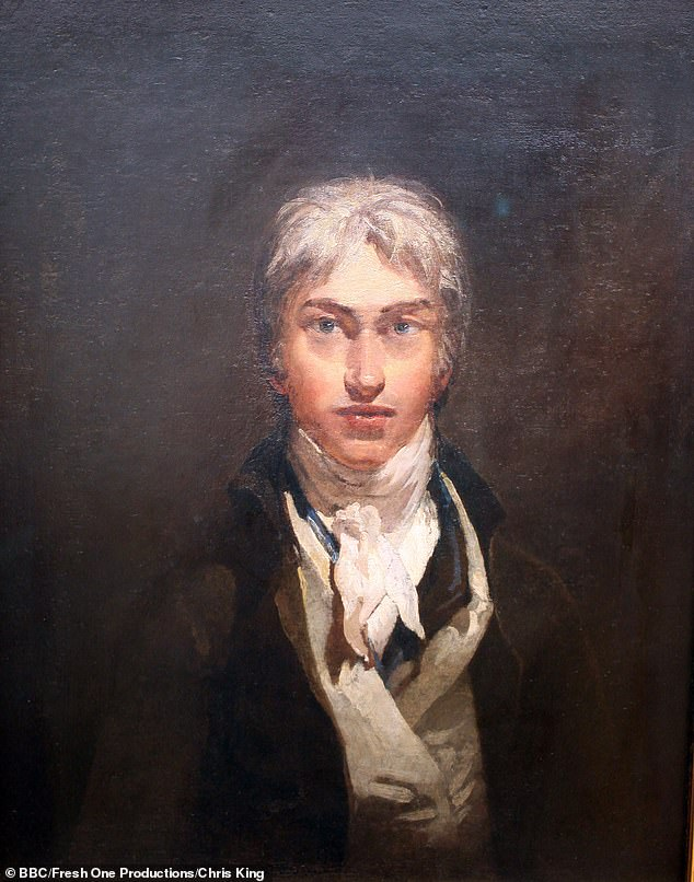 Dedication: The thespian was mentored by consultant Tim Wright when he picked up the brush for the award-winning Turner film (Turner portrayed in an oil painting above)