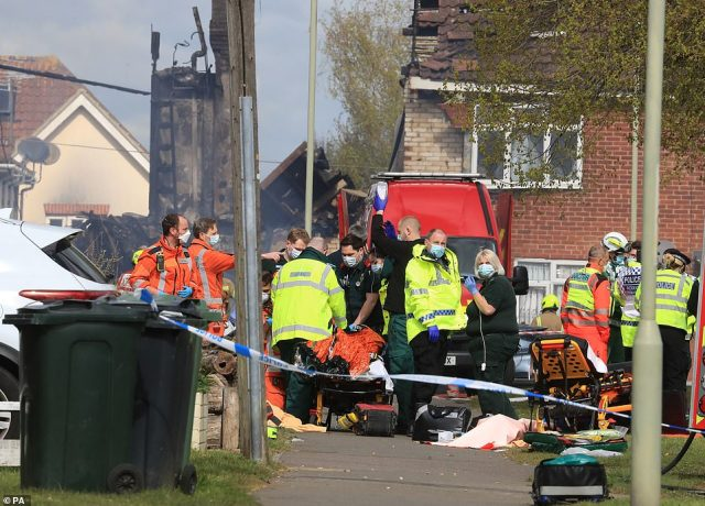 Several people were trapped inside the £350,000 property before being rescued, police said, with paramedics treating casualties at the scene
