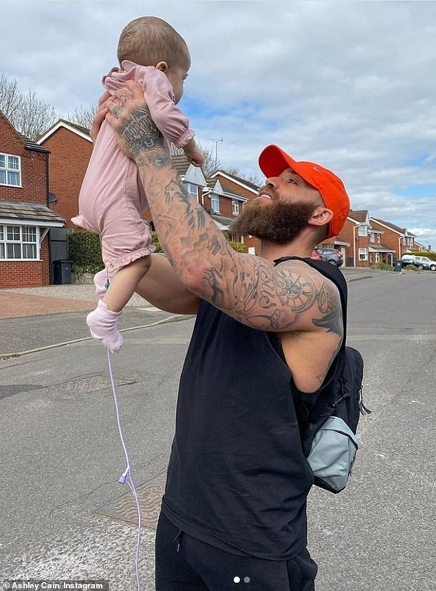 Smiling again: On Monday, Ashley revealed that he has smiled 'for the first time' since the tragic death of his beloved eight-month-old daughter Azaylia over a week ago