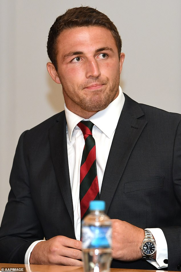 Aging: A source close to the star told Daily Mail Australia, Burgess was 'amused' to learn that attention was focused on her silver locks after her recent court victory.  Sam pictured with chocolate brown hair in 2017