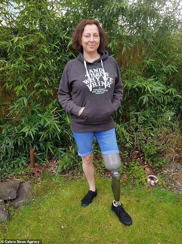 Helen Way (pictured), 49, from Trowbridge, Wiltshire, had to have her leg amputated after suffering from sepsis