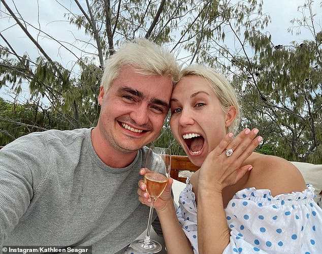 Happy days: George Sheppard announced his engagement to Kathleen Seagar. The musician, who is a member of the Queensland band Sheppard, shared the good news in an Instagram post on Tuesday.  Both pictured