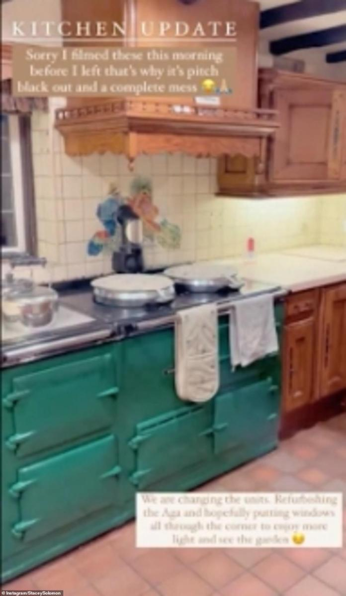 Time for a makeover: Sharing a video of the traditional kitchen interior at Pickle Cottage, she said: 'So for anyone wondering we are going to change the units, update the AGA and get it all cleaned and stuff'
