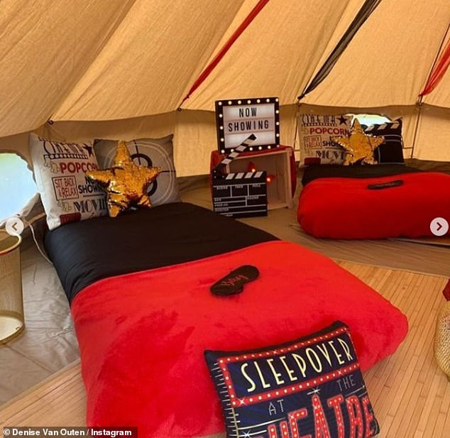 What a treat: Dancing On Ice star Denise transformed her Essex garden into a Hollywood-style movie theater experience, with the teepee filled with beds, cushions and a popcorn machine - perfect for movie night with her friends