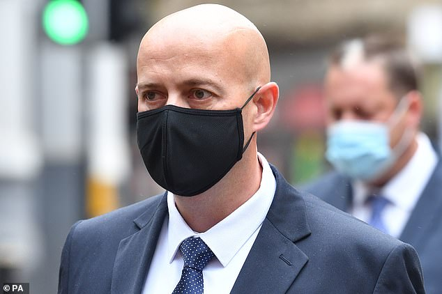 West Mercia Police Constable Benjamin Monk arrives at Birmingham Crown Court to stand trial