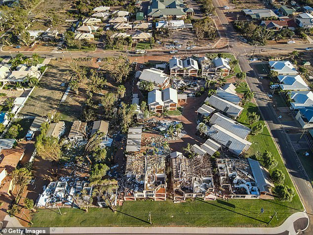 Projects will include bushfire and cyclone proofing houses, building levees and improving the resilience of telecommunications and essential supplies. Pictured: Cyclone-damaged buildings April in Kalbarri, WA