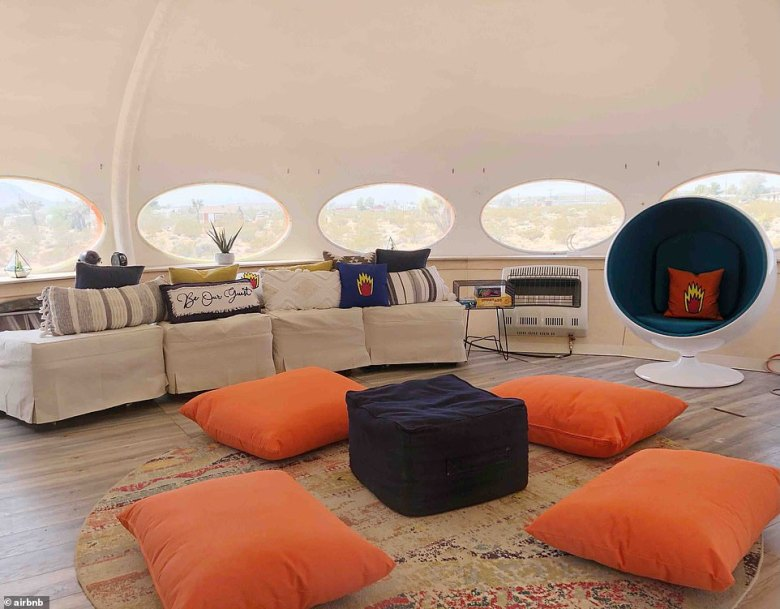 The pod's Airbnb listing describes it as an 'off-grid glamping experience' and explains: 'The idea is to disconnect, kick back on the queen-size daybed and enjoy, but still have those perks of having some connected amenities when needed'