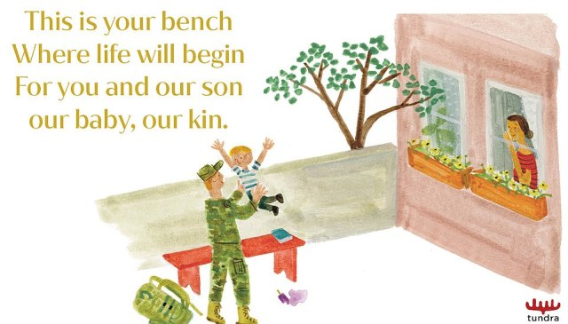 A second illustration showing the red-headed soldier, with the caption 'This is your bench, Where life begin, For you and our son our baby, our kin'