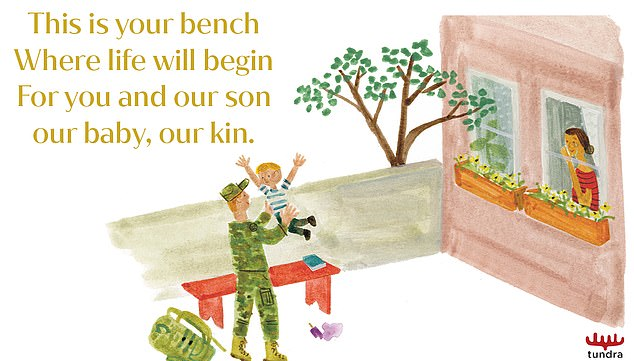 A second illustration showing the red-headed soldier, with the caption 'This is your bench, Where life begins, For you and our son our baby, our kin'