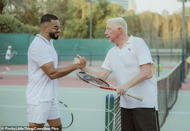 Out: Boris Becker and PrettyLittleThing CEO Umar Kamani were in high spirits as they enjoyed a tennis match in Dubai on Saturday