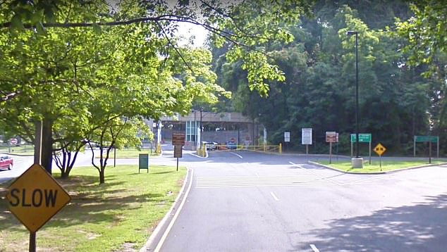 The main entrance to the CIA complex is well guarded through a system of gates and checkpoints