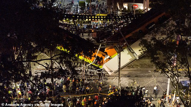 An overhead view of the disaster site reveals how the train fell on to the road after the bridge gave way