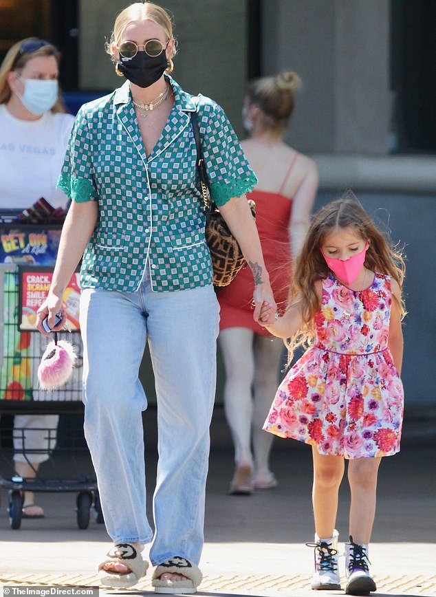 Proud mother: Ashlee Simpson took her five-year-old daughter, Jagger, with her as she went shopping in Los Angeles this week.