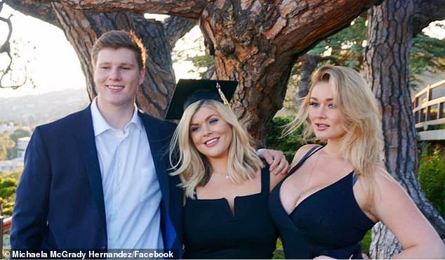 Grieving:The mom-to-be called Tynan 'the most kind, gentle, loving, beautiful, intelligent, funny human being this earth has ever known' (pictured right, with Tynan and sister Michaela)
