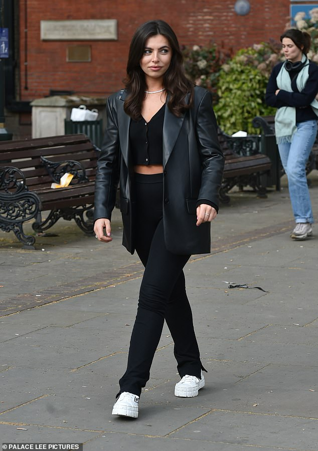Stylish:Francesca Allen cut a stylish figure as she was seen leaving the Ivy Chelsea Garden restaurant in West London to meet up with family