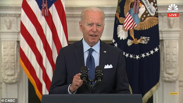 Biden also set a new goal for 160 million Americans to be fully vaccinated by July 4th and for 70 per cent of adults to have one shot by then