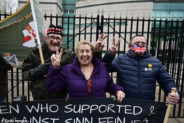 Veterans and supporters celebrate as the trial of two Northern Ireland veterans accused of murdering Official IRA member Joe McCann in 1972 collapses