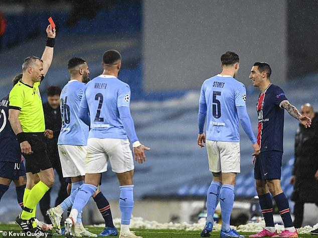Tensions flared during the Champions League semi as Angel Di Maria (far right) was sent off