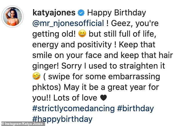 Tribute: Katya penned a loving tribute to Neil as she wished him well for his birthday while sharing a series of snaps